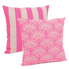 Dandelion & stripe in cushion in neon pink
