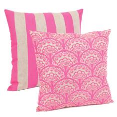 Dandelion & stripe in cushion in neon pink