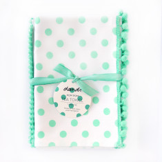 Set of 2 Polka dot tea towels in turquoise pom pom