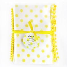 Set of 2 Polka dot tea towels in lemon pom pom