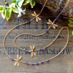 Darcy gold dragonflies and semi-precious necklace