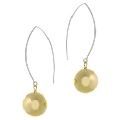 Gold plated 16mm sterling silver ball earrings