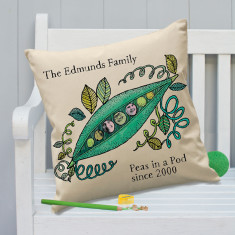 Colour In Cushion Personalised 'Peas In A Pod'