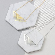 Geometric Deco Triangle Necklace