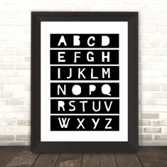 Monochrome alphabet print for nursery