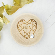 Jewelled Heart Double Initial Wooden Trinket Dish