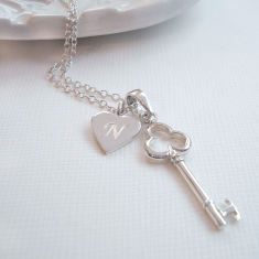 Personalised Silver Key To My Heart Necklace