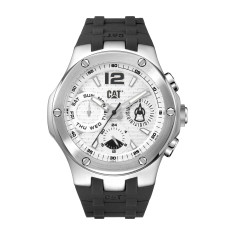 CAT NAVIGO MULTI dial Dual Time Watch in Stainless Steel and White with Black Rubber Band