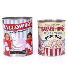Retro Popcorn Tins (Set of 2)