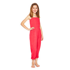 Linen jumpsuit in hibiscus