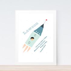 Rocket birth print (various colours)