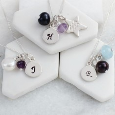 Personalised Birthstone Necklace with Silver Disc Charm