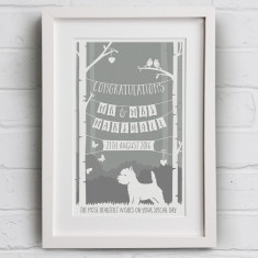 Personalised Wedding Day Print With Dog