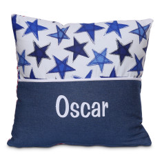 Personalised name cushion in Blue Star