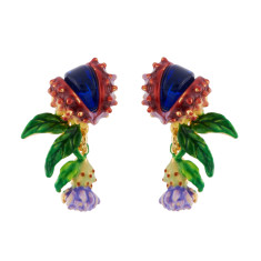 Chimerical flower and blue stone earrings