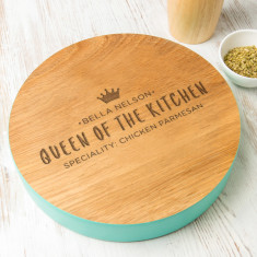 Personalised 'Queen Of The Kitchen' Coloured Edge Board