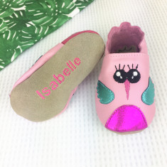 Personalised Pink Hummingbird baby shoes