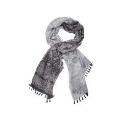 My Softest Cotton Scarf: Sari Esque Grey Tones With Tassels