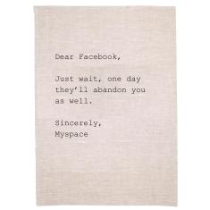 Dear Facebook tea towel