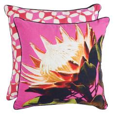 Deep pink protea eco cushion cover