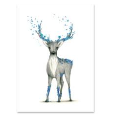Deer Print Blue Flowers Print