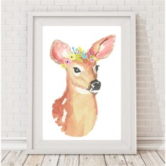 Watercolour deer flower crown print