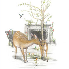 Deer mother and baby print