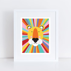 Rainbow lion art print