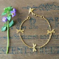 Delia gold little dragonflies bracelet
