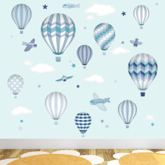 Deluxe hot air balloons and jets fabric wall stickers