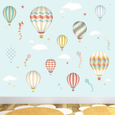 Deluxe hot air balloons and kites fabric wall stickers