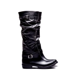 Denny black buckle wellies