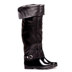 Denny black tall folded wellies
