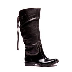 Denny black tie wellies