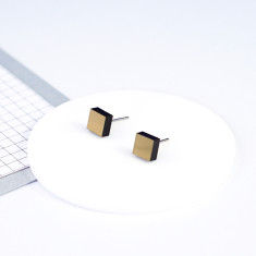 Mini Acrylic square studs - brushed gold and black