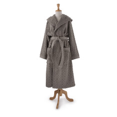Unisex bathrobe in raised diamond design in Paloma grey