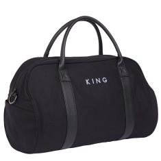 Duvall duffel bag in black canvas and black Italian leather