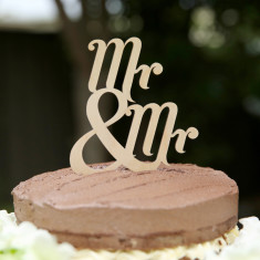 Wooden Mr and Mr traditional wedding cake topper
