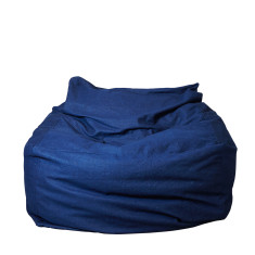 Ottoman/Seated Beanbag in Dark Denim