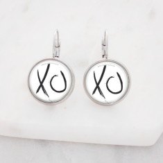 XO kiss hug glass dangle drop earrings in silver