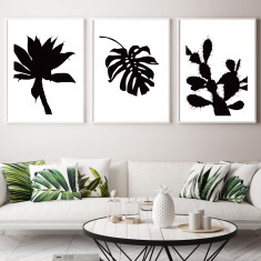 Silhouetted palms art prints (set of 3)