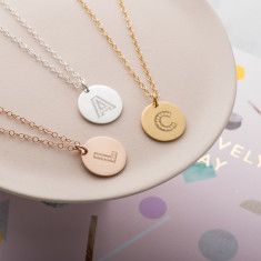Personalised Letter-In-Lights Coin Necklace