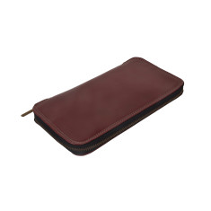Bost leather travel wallet in dark red
