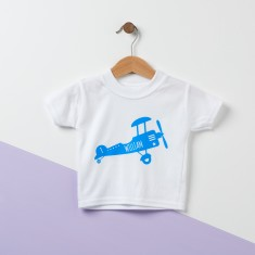 Retro Airplane Personalised Baby T Shirt