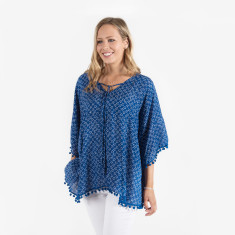 Seychelles pom pom top in ocean blue