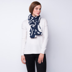 Geometrica ink print cashmere scarf in mono colour