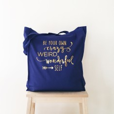 Be yourself gold foil tote bag