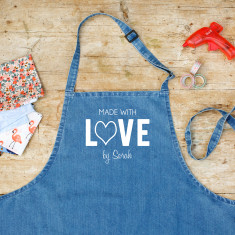 Personalised Made With Love By Denim Apron