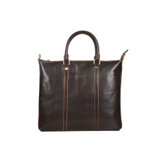 Marseille chocolate genuine leather tote