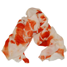 Cashmere scarf in tangerine and winter white